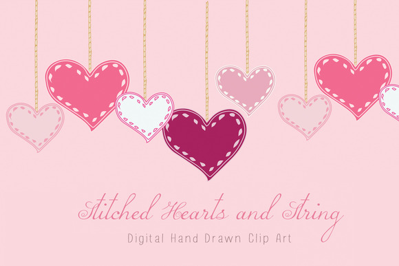 Stitched Hearts And String Clip Art