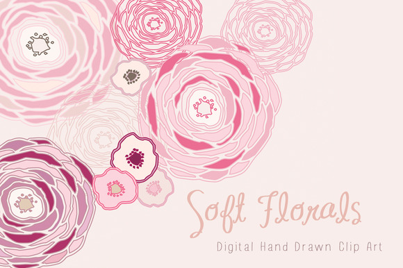 Hand Drawn Clip Art Soft Florals
