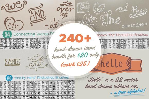 240 Hand-drawn Items Bundle