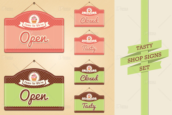 Shop Signs-Open Closed And Tasty