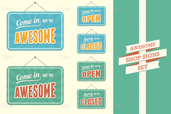 Shop Signs-Open Closed And Awesome