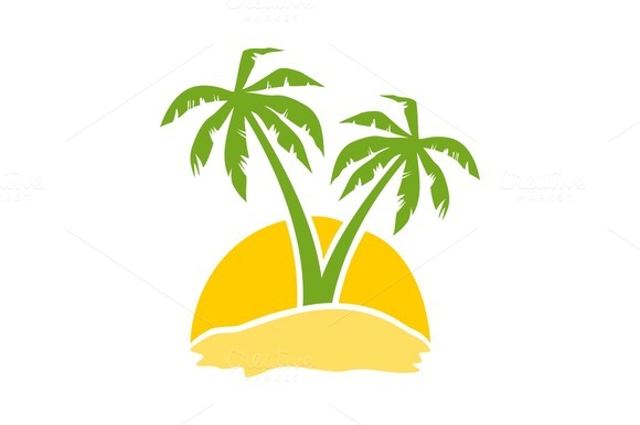 Restaurant With Palm Tree Logo With Yellow Background ...