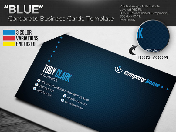 BLUE Corporate Business Cards