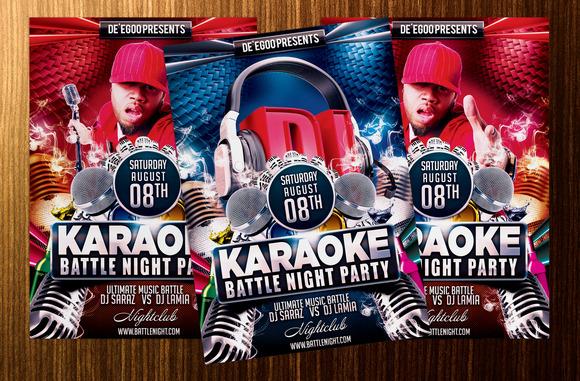 Karaoke Battle Night Party Flyer