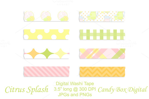 Citrus Splash Digital Washi Tape