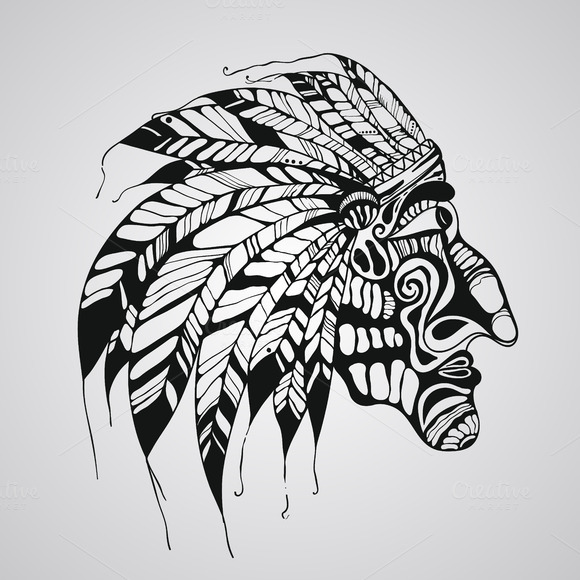 Vector Tattoo Native American India