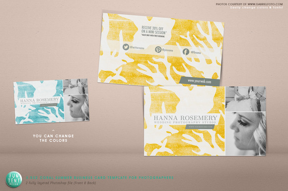 Business Card 3.5x2 Coral Summer PSD