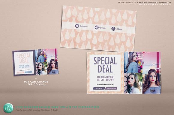 3.5x2 Business Card Raindrops PSD