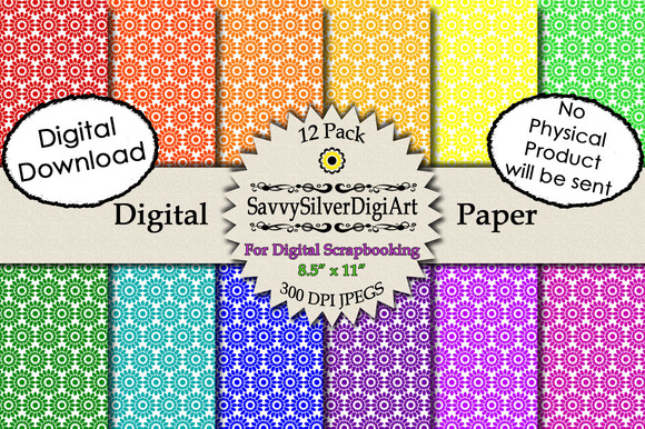 Flower Digital Paper1-Rainbow Colors