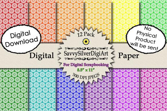 Flower Digital Paper2-Rainbow Colors