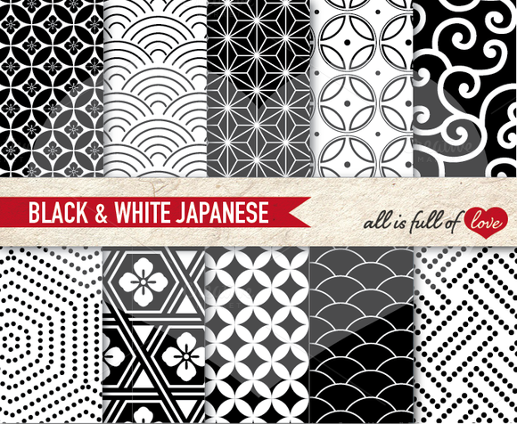 Japanese Black White Patterns