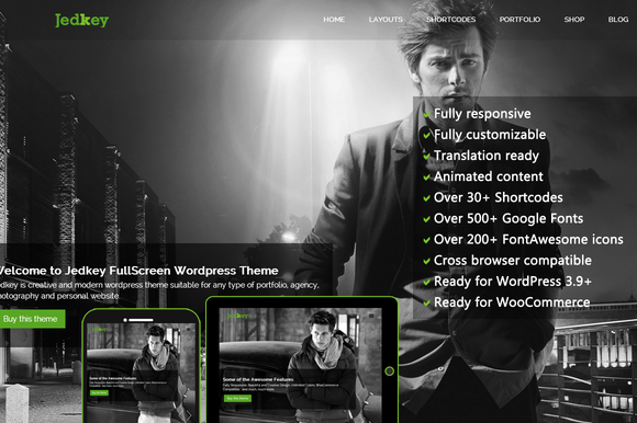 Jedkey FullScreen WordPress Theme