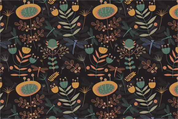 Seamless Pattern Mystical Garden