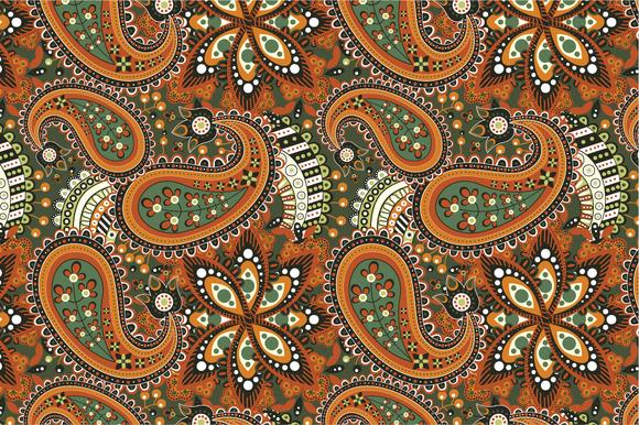 Seamless Pattern Orange Flowers