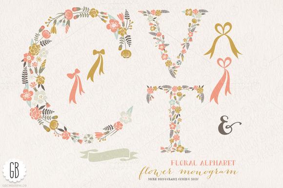 Flower Monogram Floral Letters CVT