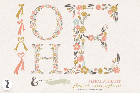 Flower Monogram Floral Letters HOE