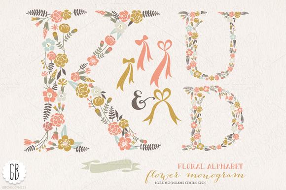 Flower Monogram Floral Letters KUD