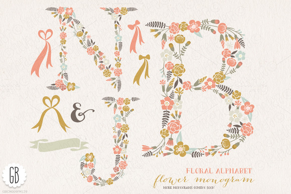 Flower Monogram Floral Letters NJB