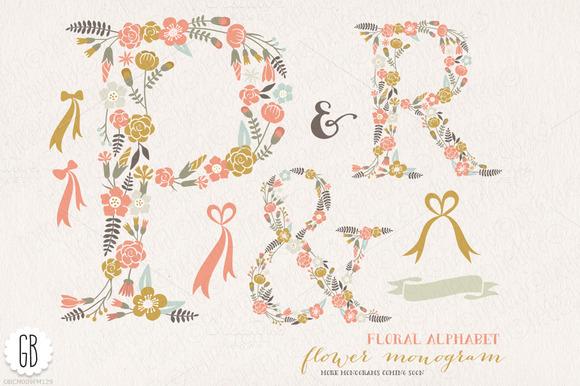 Flower Monogram Floral Letters PR