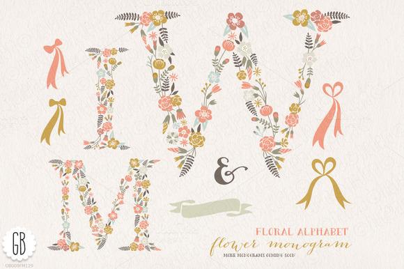 Flower Monogram Floral Letters WMI