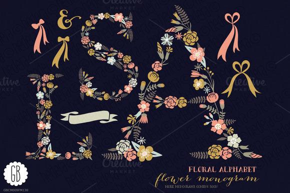 Floral Letters Monogram Floral ASL