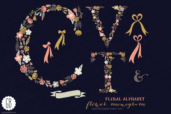 Floral Letters Monogram Floral CVT