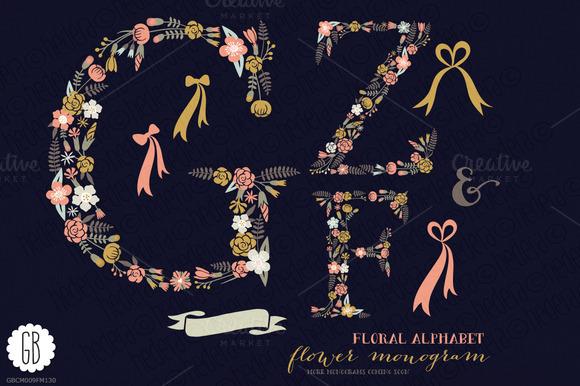 Floral Letters Monogram Floral GZF