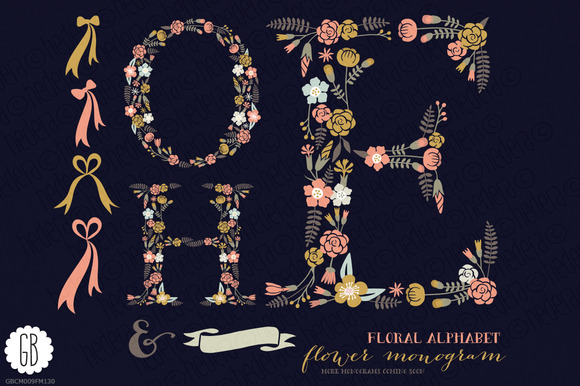 Floral Letters Monogram Floral HOE