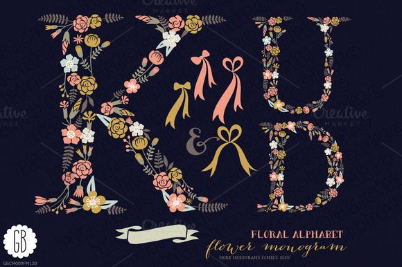 Floral Letters Monogram Floral KUD