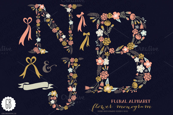 Floral Letters Monogram Floral NJB