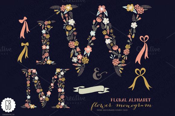 Floral Letters Monogram Floral WMI