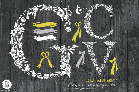Floral Letters Rustic White GCV