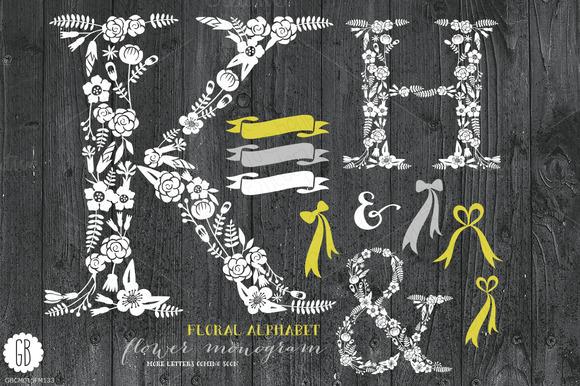 Floral Letters Rustic White KHAmp