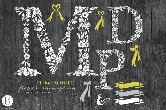 Floral Letters Rustic White MDP