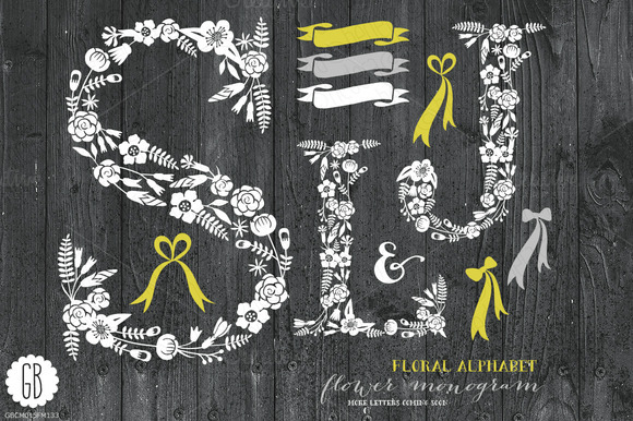 Floral Letters Rustic White SLJ