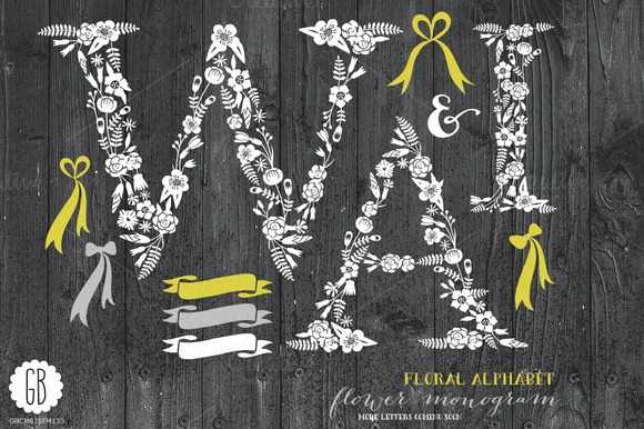 Floral Letters Rustic White WAI