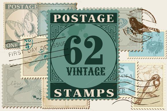 62 Vintage Postage Stamps