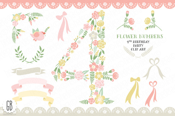 Floral Number Four 4th Clip Art