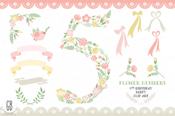 Floral Number Five 5th Clip Art