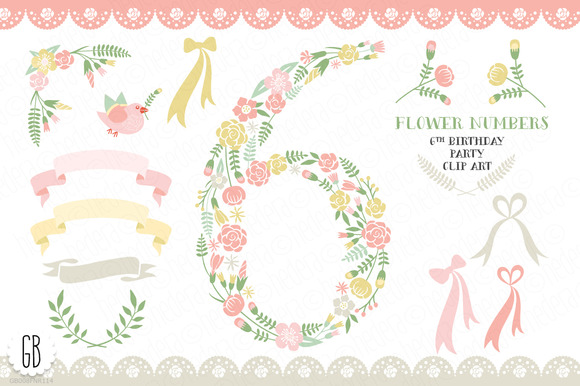 Floral Number Six 6th Clip Art