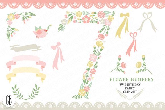 Floral Number Seven 7th Clip Art