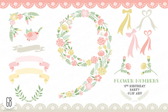 Floral Number Nine 9th Clip Art