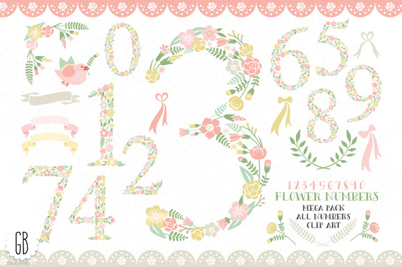 Floral Numbers 0 To 9 MEGAPACK