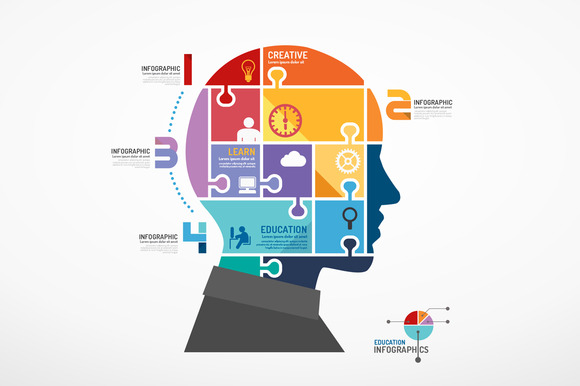 Infographic Head Jigsaw Concept