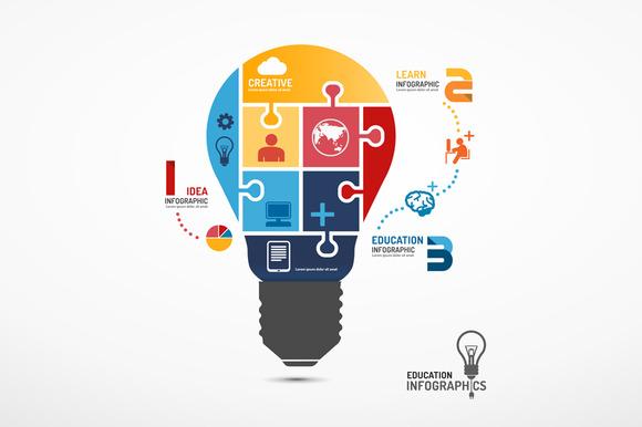 Infographic Lightbulb Jigsaw Concept