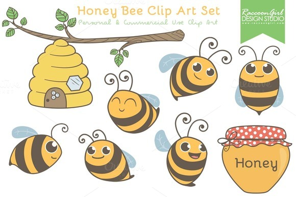 Honey Bee Clip Art Set