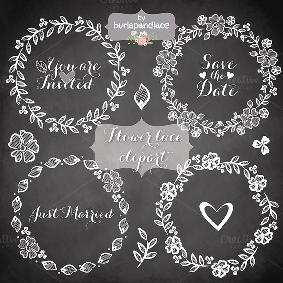 Chalkboard Lace Wreath Clipart
