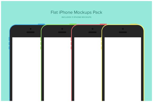 Flat IPhone Mockups Pack