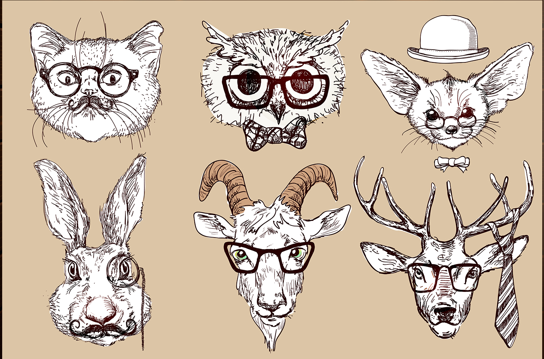 Animal head human body hipster