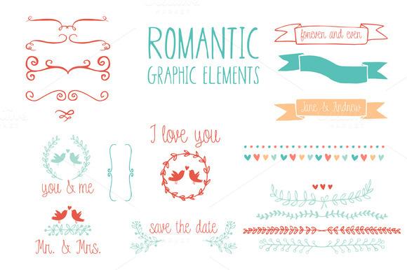 Romantic Graphic Elements In Vector